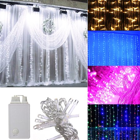SOLMORE 3Mx3M Fairy Curtain String Light 300 LED Outdooor/Indoor Decoration for Christmas Festival Wedding Party Living Room Bedroom, Daylight (Amazon Wedding Decorations)