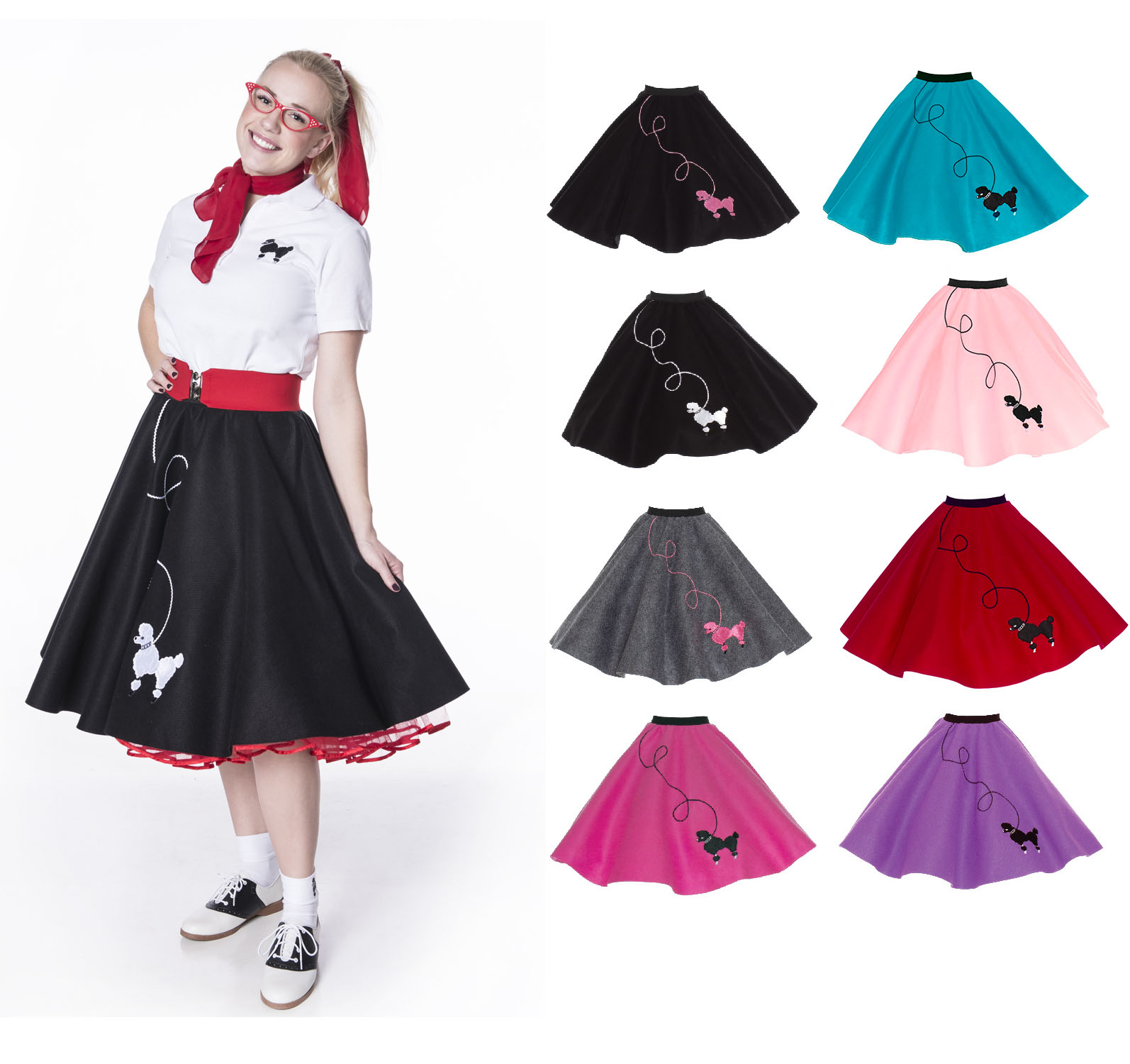 White 50/'s Poodle Shirt Costume Top Sock Hop Style Dance Blouse Women/'s Adult