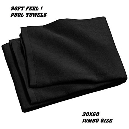 GHP Pack of 4 Black Jumbo 30x60 Cabana Swimming/Hotel/Resort Beach Soft Velour Towels