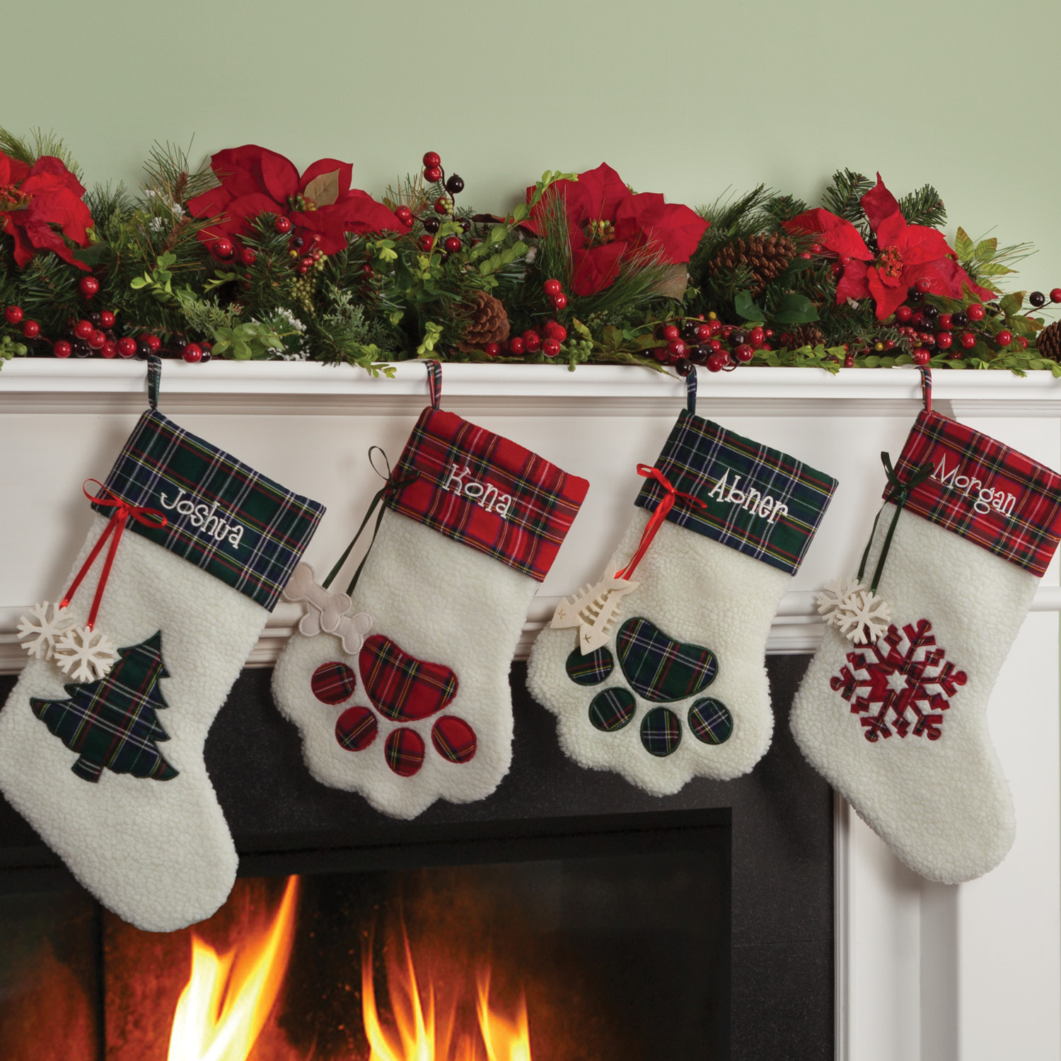Personalized Dog Paw, Cat Paw and Snowflake Christmas Stockings
