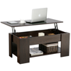 """Modern Lift Top Coffee End Table Wood w/ Under Storage Space Shelf Home Furniture Espresso *Specifications: Color: espresso Material: MDF & metal mechanism Overall dimension: 38.6 x 19.7 x 16.5""""(LxWxH) Extended dimension: 38.6 x 29.3 x 22""""(LxWxH) Compartment inner size: 33.9 x 15.4 x 4.2""""(LxWxD) Distance between compartment and shelf: 7.3"""" G.W.: 46.2 lb Package size: 43.3 x 23.6 x 3.9""""(LxWxH) Max. load capacity: Tabletop:77 lb Tabletop (when extended):22 lb Top compartment: 33 lb Bottom shelf: 40 lb *Note: For your safety, please do not stand on the tabletop. *Packing List: 1 x Lift Top Table 1 x Instruction"""