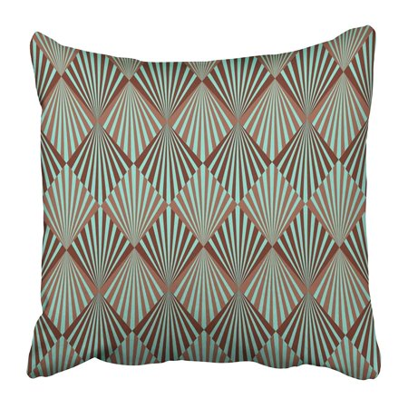 ARHOME Green Artdeco Style Classy Geometric Digital Vintage Retro Clipart Abstract Pillow Case Cushion Cover 16x16 inch