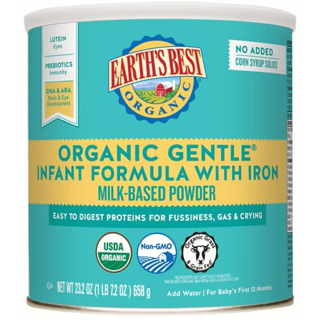 Earth's Best Organic Gentle Infant Powder Formula with Iron, Easy To Digest Proteins, 23.2