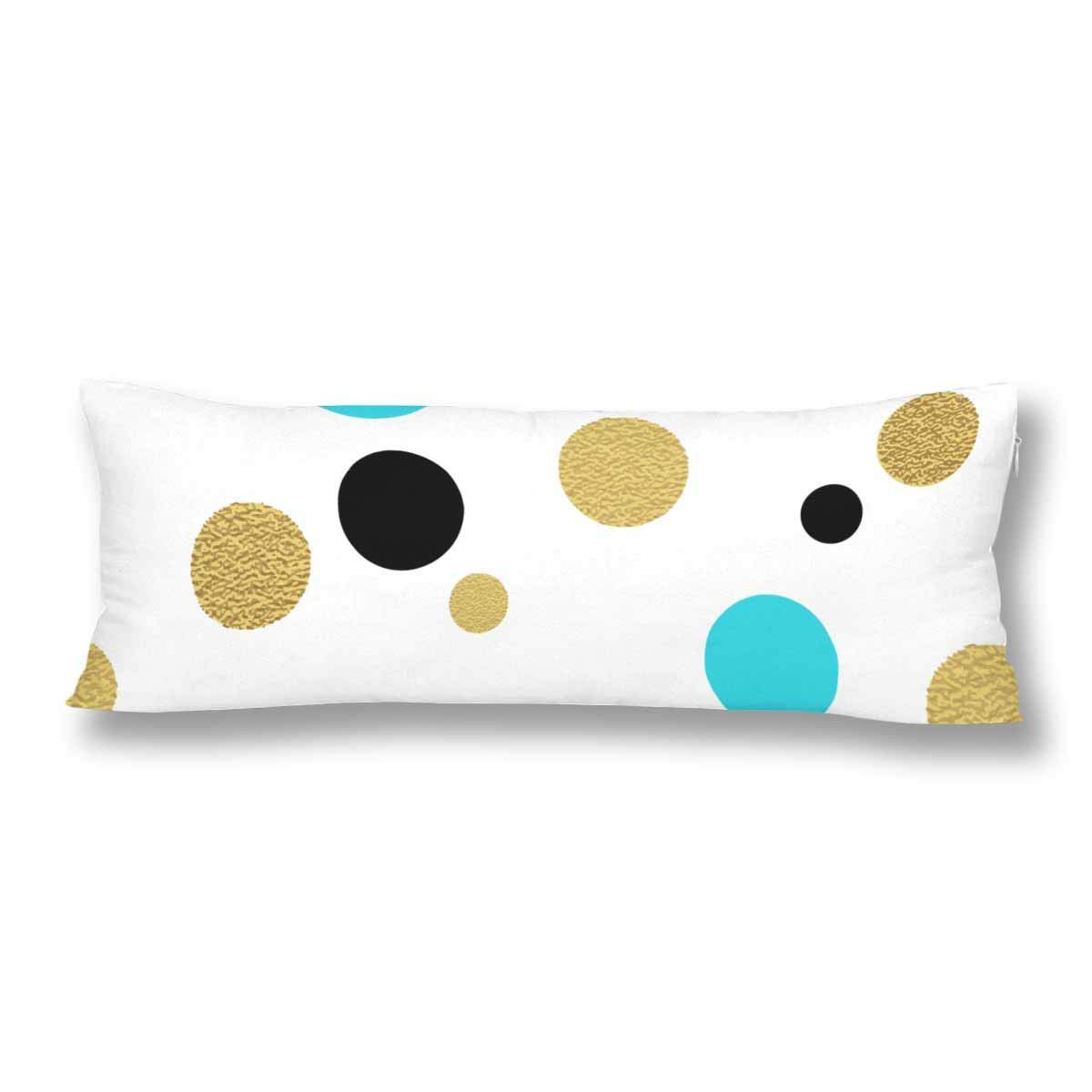 GCKG Gold Glitter Polka Dot Pillow Covers Pillowcase Zipper 20x60 inches, Classic Dotted Body Pillow Case Protector - image 2 de 2