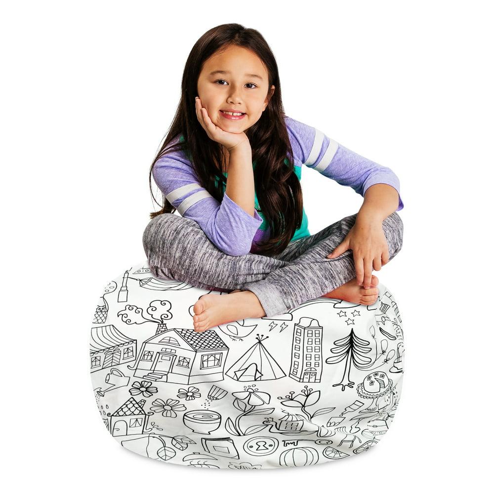 Posh Creations Kids Stuffed Animal Storage Bean Bag Chair ...