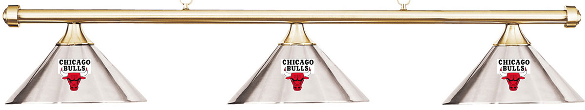 NBA Chicago Bulls Chrome Metal Shade & Brass Bar Billiard Pool Table Light by Imperial International