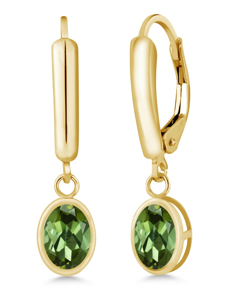 1.70 Ct Oval Green Tourmaline 14K Yellow Gold Earrings by