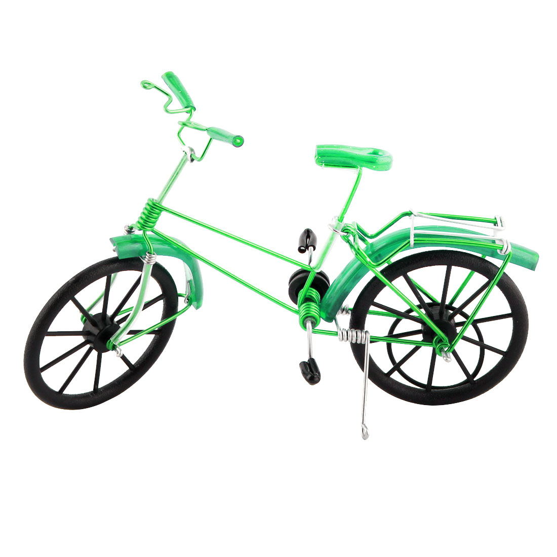 Handmade Craft Table Ornament Collection Figurine Toy Bicycle Model Decor Green