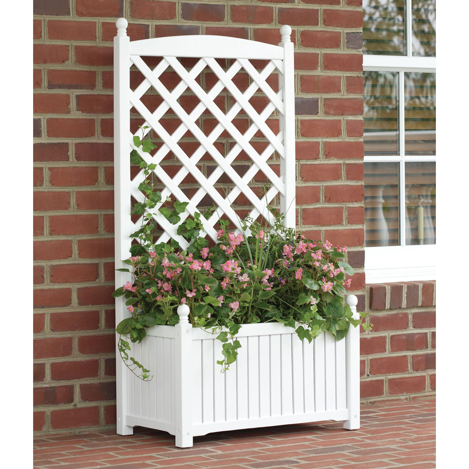 4.5-Foot Rectangle Solid Wood Lexington Lattice Planter with Trellis