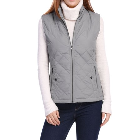 Women's Mock Pocket Quilted Padded Vest Warm Jacket Coat Outerwear Gray S (US 6) (Brown Womens Coat)