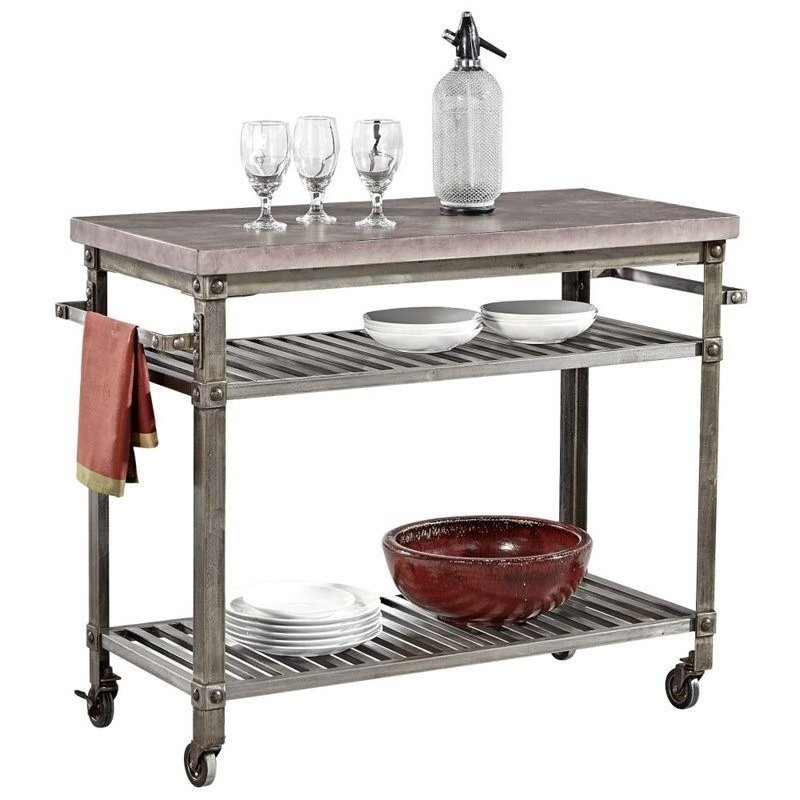 Bowery Hill Kitchen Cart in Aged Metal with Concrete Top