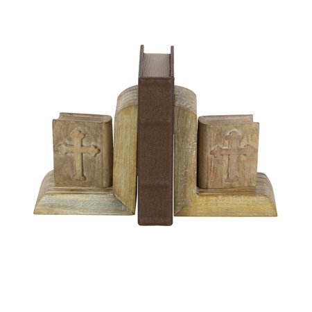 (Decmode Pair Of Eclectic 7 X 4 Inch Distressed Mango Wood Miniature Bible Bookends, Brown)