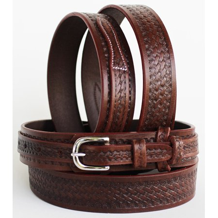 Western RANGER Tooled Leather BELT Hand Basketweave 26Ranger12