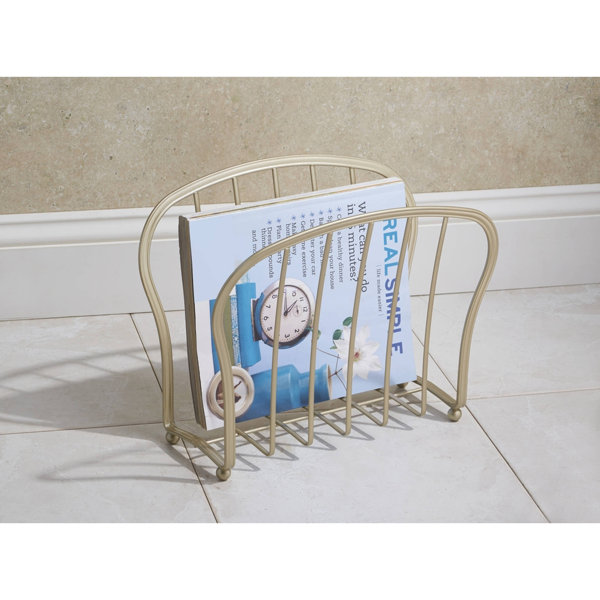 InterDesign York Lyra Newspaper And Magazine Rack For Bathroom, Office, Den
