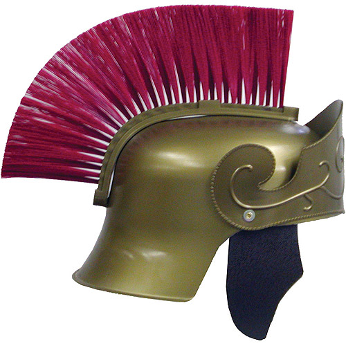 Halloween Roman Helmet Gold With Red Brush