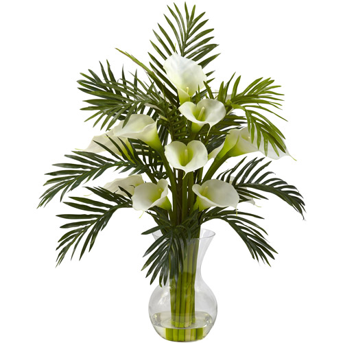 Nearly Natural Calla Lily and Palm Combo, Cream