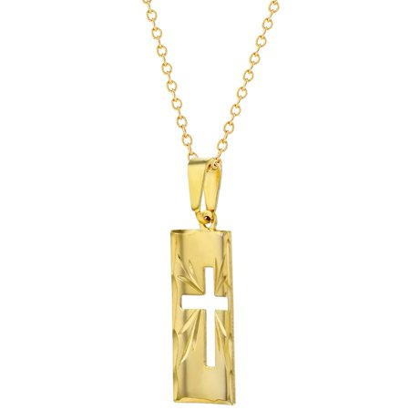 """18k Gold Plated Curved Cross Medal Religious Pendant Necklace Girls Ladies 19"""" - image 3 of 4"""