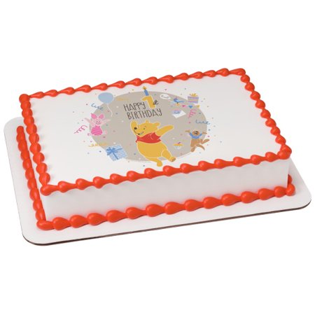 Winnie the Pooh Happy 1st Birthday 1/4 Sheet Image Cake Topper Edible Birthday Party