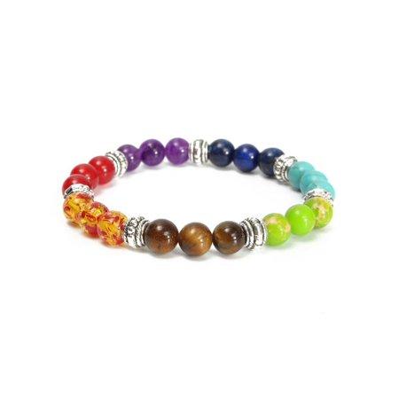 Reiki Universal Gift - Unisex 8mm Crystal Beads 7 Chakra Healing Diffuser Reiki Bracelet Gemstone Bracelet Jewelry Christmas Gift
