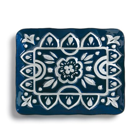 Floral Fusion Glass (Demdaco - Glass Fusion - Rectangle Serving Platter - Indigo Floral)