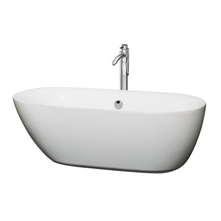 Wyndham Collection Melissa 65 inch Freestanding Bathtub in White with Floor Mounted Faucet, Drain and Overflow Trim in Polished Chrome