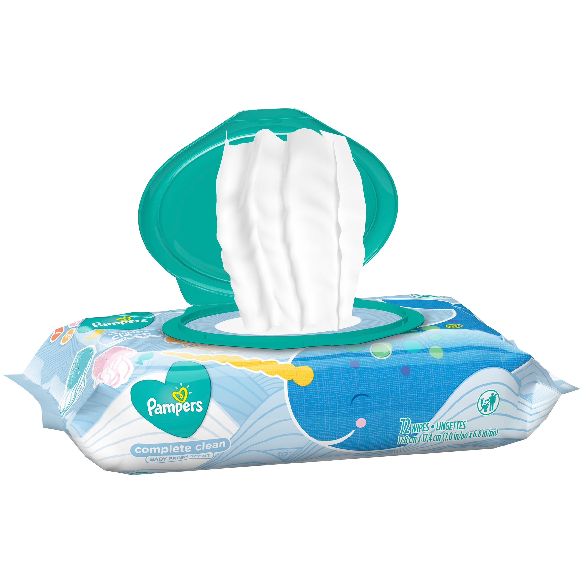 Pampers Complete Clean Baby Fresh Scent Baby Wipes 72 Count Pack
