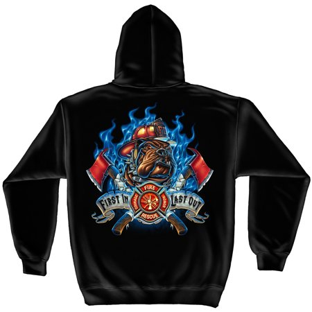 Firefighter Hooded Sweat Shirt First in Last Out Firefighter Large (Last Suit)