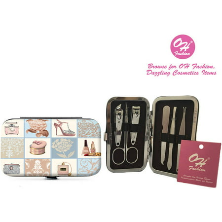 (OH Fashion Manicure set Vintage Paris, Nail Clipper Cuticle trimmer 5 pc in one travel case)