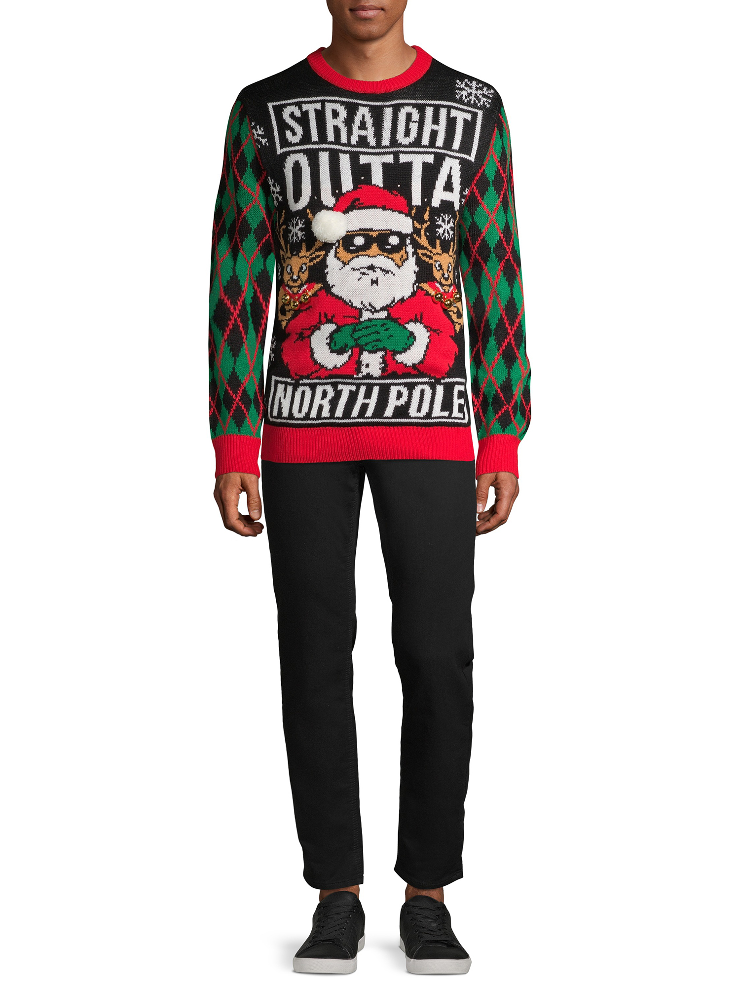 Straight Outta North Pole Christmas Holiday Santa Present Mens T-Shirt