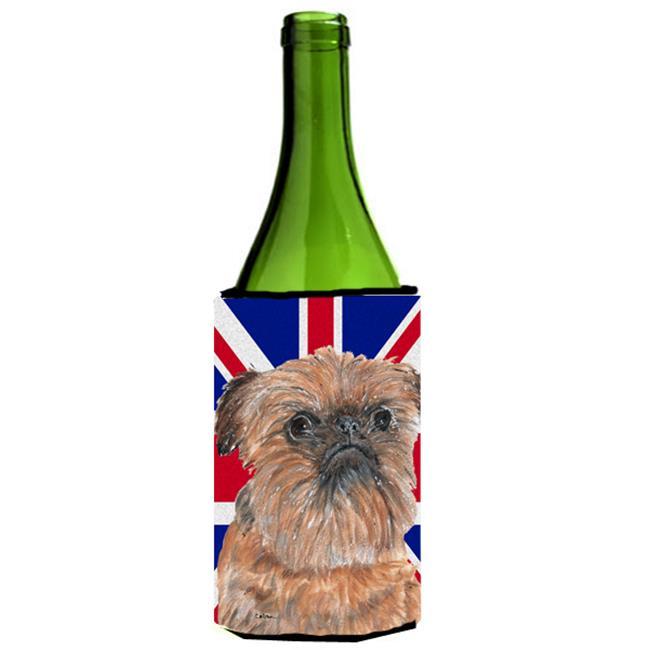 Brussels Griffon With Engish Union Jack British Flag Wine bottle sleeve Hugger - 24 Oz. - image 1 of 1