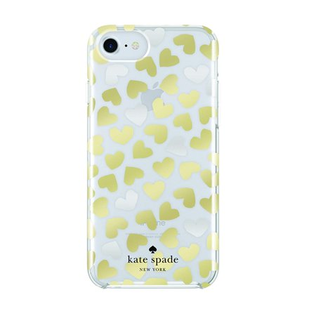 kate spade new york Protective Hardshell Case for iPhone 7 & iPhone 8 - Dancing Hearts Clear/Silver Foil/Gold - Kate Spade Heart Of Gold
