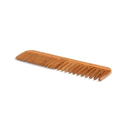 Bamboo Comb (| Grooming Comb | Premium Bamboo Teeth and Handle | Wide Tooth/Fine Tooth Combination | Dark Finish | Model W3 - DB, Natural bamboo teetth glide smoothly.., By Bass Brushes)