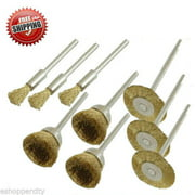 """MTP ® Pack of 9/24/60 Assorted Rotary Brass Wire Brush Dremel  443 442 428 8220-2/28 395 4000 1/8"""" Shank Clean Polish Tool Jewelry Stone Hobby"""