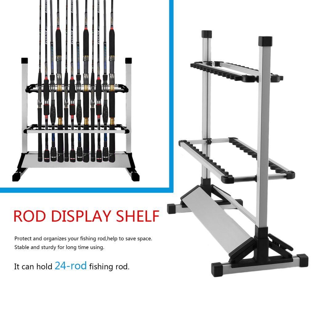 Portable Fishing Rod Rack Aluminum Fishing Rod Holder Rod Stand 24 Rod Rack Holder by