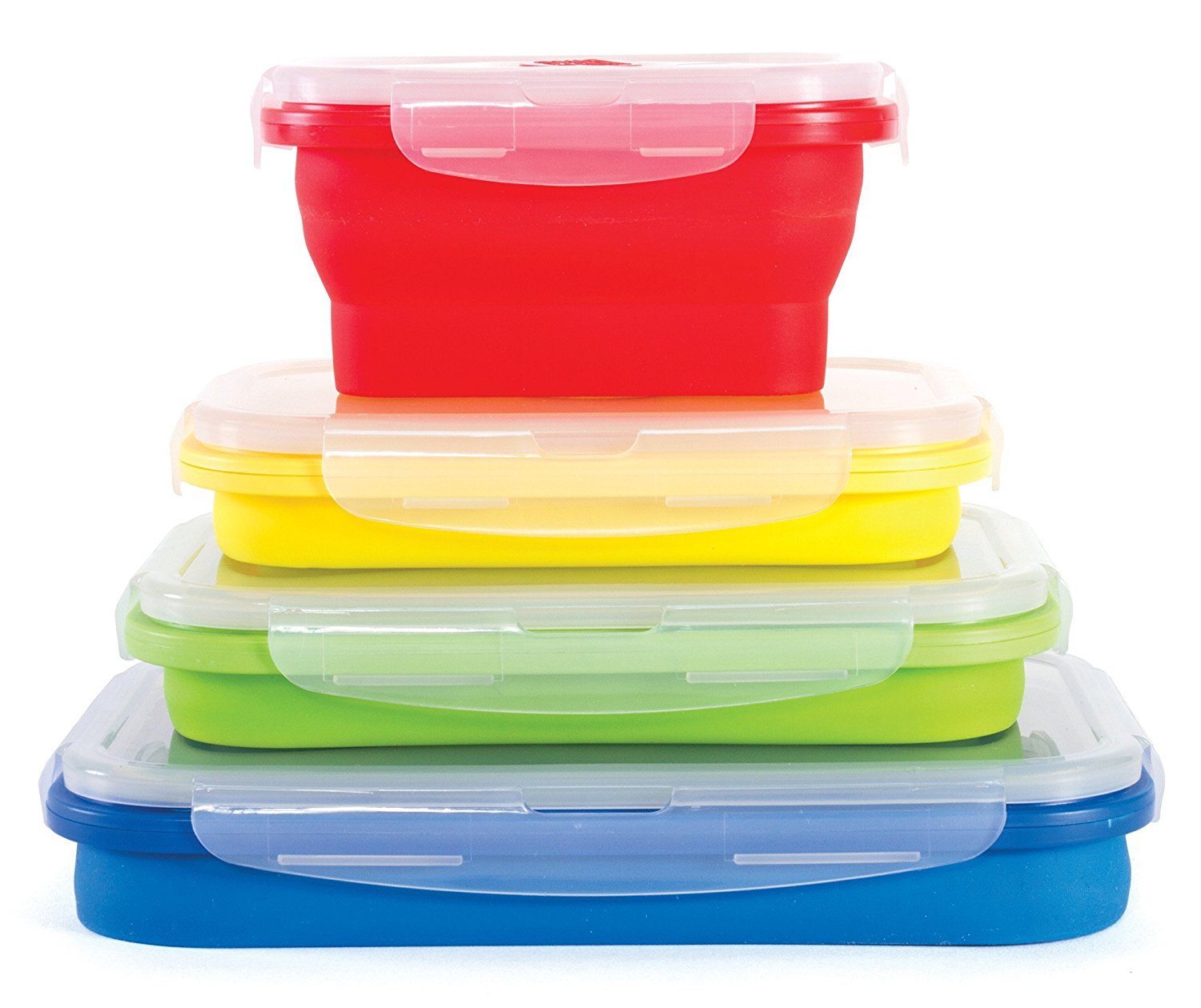 Beau Thin Bins Set Of 4 Square Silicone Collapsible Food Storage Containers BPA  Free, Microwave, Dishwasher And Freezer Safe   Walmart.com
