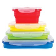 Thin Bins Set of 4 Square Silicone Collapsible Food Storage Containers BPA Free, Microwave, Dishwasher and Freezer Safe