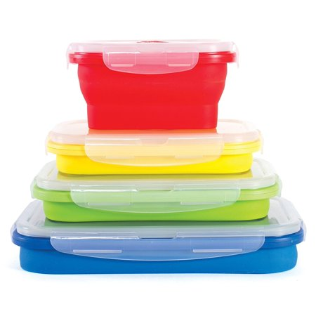 Thin Bins Set of 4 Square Silicone Collapsible Food Storage Containers BPA Free, Microwave, Dishwasher and Freezer -