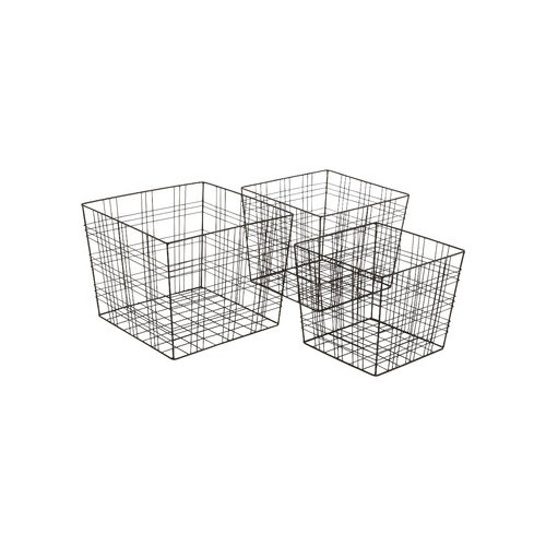 Woodland Imports Attractive 3 Piece Fascinating Metal Wire Basket Set