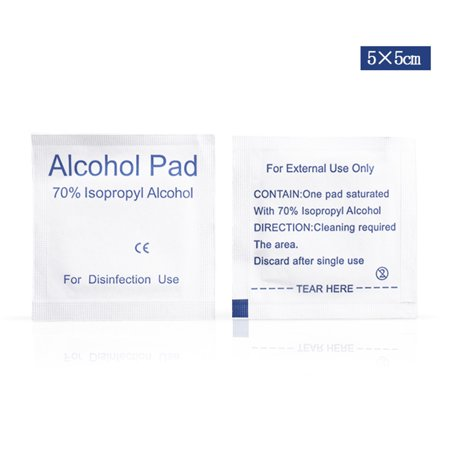 100Pcs/Box 5x5cm Alcohol Pads Disposable Disinfection Wound Alcohol Wipes Travel Accessories - image 1 of 6