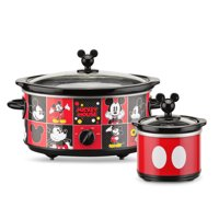 Disney DCM-502 5-Quart Oval Slow Cooker with 20-Ounce Dipper (Red/Black)