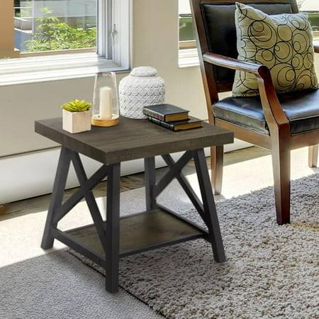 Furniture Of America  Reynolds Rustic Industrial Two Tone Medium Weathered Oak Black End Table