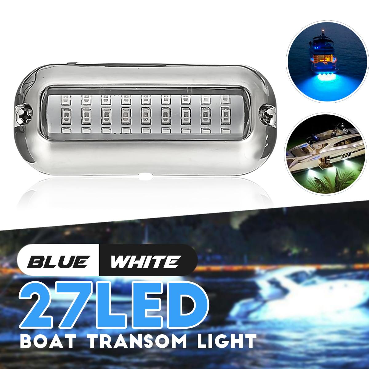 Marine/Boat 27 Blue LED 50W  Underwater Pontoon Boat Transom Lights Stainless Steel