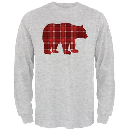 Autumn Plaid Bear Mens Long Sleeve T Shirt (Bears Long Sleeve Layered Tee)