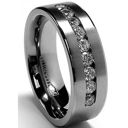 8 MM Men's Titanium ring wedding band with 9 large Channel Set Cubic Zirconia CZ sizes 6 to