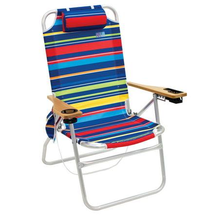 "RIO Beach Chair – ""The Big Shot"" 4-Position Aluminum Frame with Wood Arms (Stripe)](Custom Beach Chairs)"