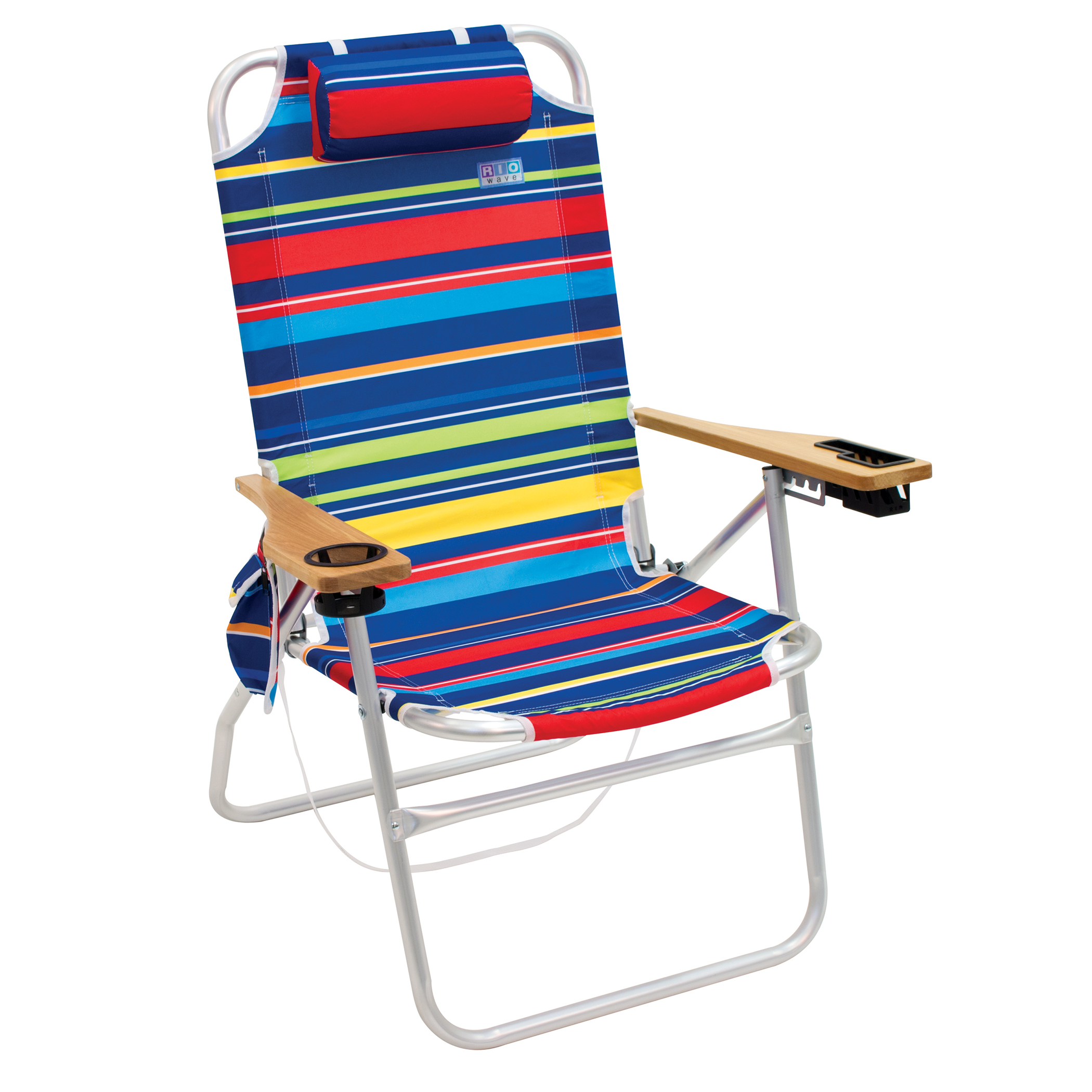 """RIO Beach Chair – """"The Big Shot"""" 4-Position Aluminum Frame with Wood Arms (Blue)"""