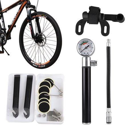 Mini Bike Pump, Hand Bicycle Air Pump Portable Bicycle 210PSI/15BAR High Pressure Hand Air Pump with Gauge and Glueless Puncture Repair Kit Fits Presta & Schrader Valves for Road