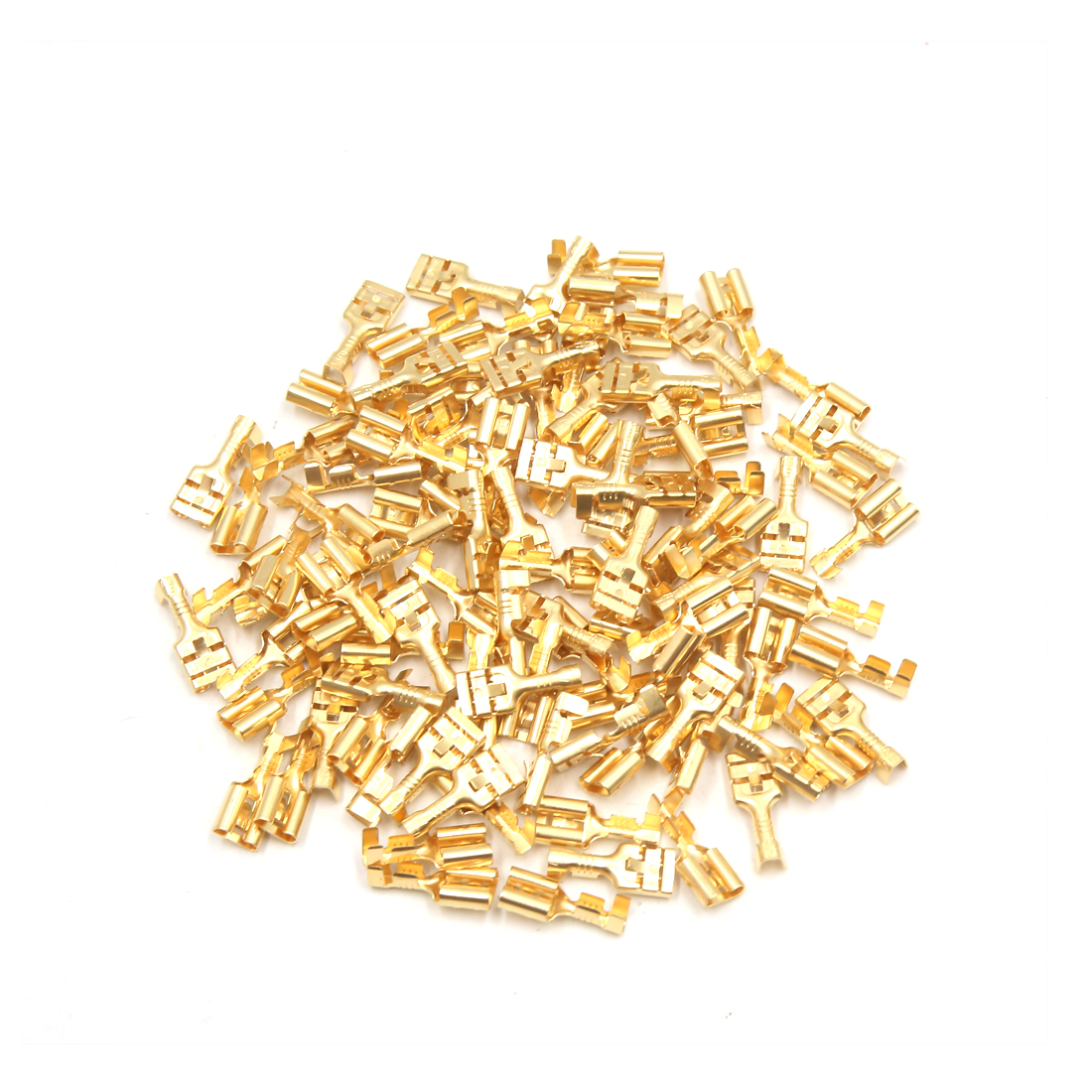 100Pcs Gold Tone Electric Horn Female Spade Connector Terminal for Car Home