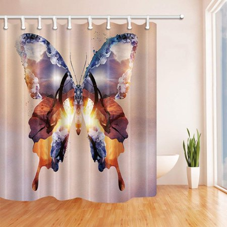 BSDHOME Creative Decor Sunset Scenery in Butterfly Wings Polyester Fabric Bathroom Shower Curtain 66x72 inches - image 1 of 1