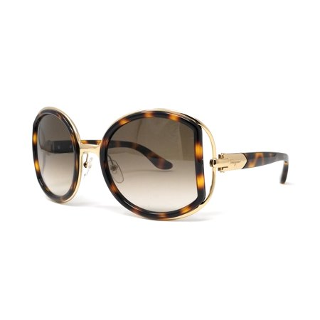Salvatore Ferragamo Sunglasses SF719S 238 Dark Tortoise Round Female (Ferragamo Sunglasses Womens)